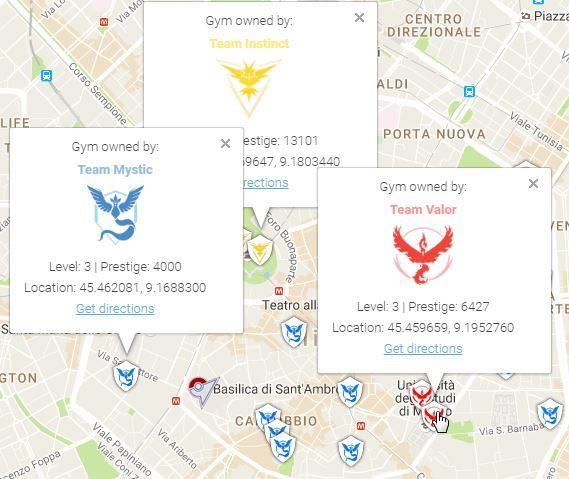 Pokemon Go - Mappa Palestre Pokemon Milano Tipologie