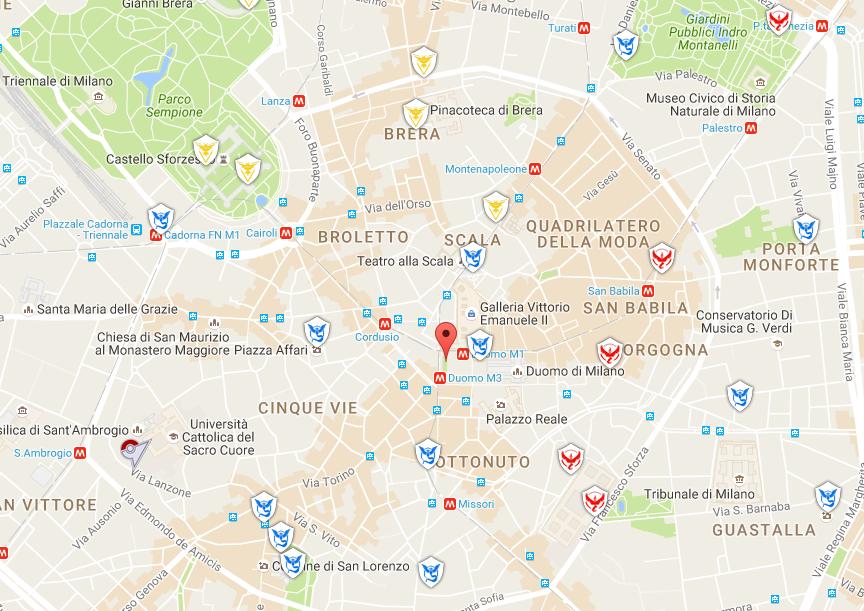 Pokemon Go - Mappa Palestre Pokemon Milano